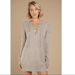 TOBI Never Forget You Taupe Lace Up Sweater Dress